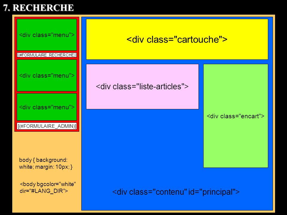 [(#FORMULAIRE_RECHERCHE)] [(#FORMULAIRE_ADMIN)] body { background: white; margin: 10px; } 7. RECHERCHE