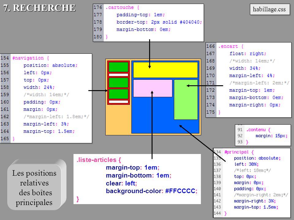 .liste-articles { margin-top: 1em; margin-bottom: 1em; clear: left; background-color: #FFCCCC; } habillage.css 7. RECHERCHE Les positions relatives de