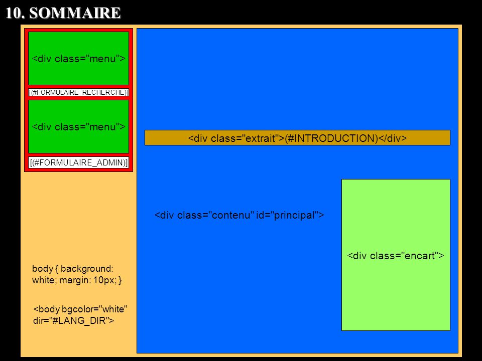 [(#FORMULAIRE_RECHERCHE)] [(#FORMULAIRE_ADMIN)] body { background: white; margin: 10px; } (#INTRODUCTION) 10. SOMMAIRE