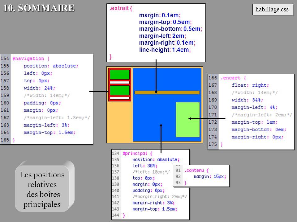 .extrait { margin: 0.1em; margin-top: 0.5em; margin-bottom: 0.5em; margin-left: 2em; margin-right: 0.1em; line-height: 1.4em; } habillage.css 10. SOMM