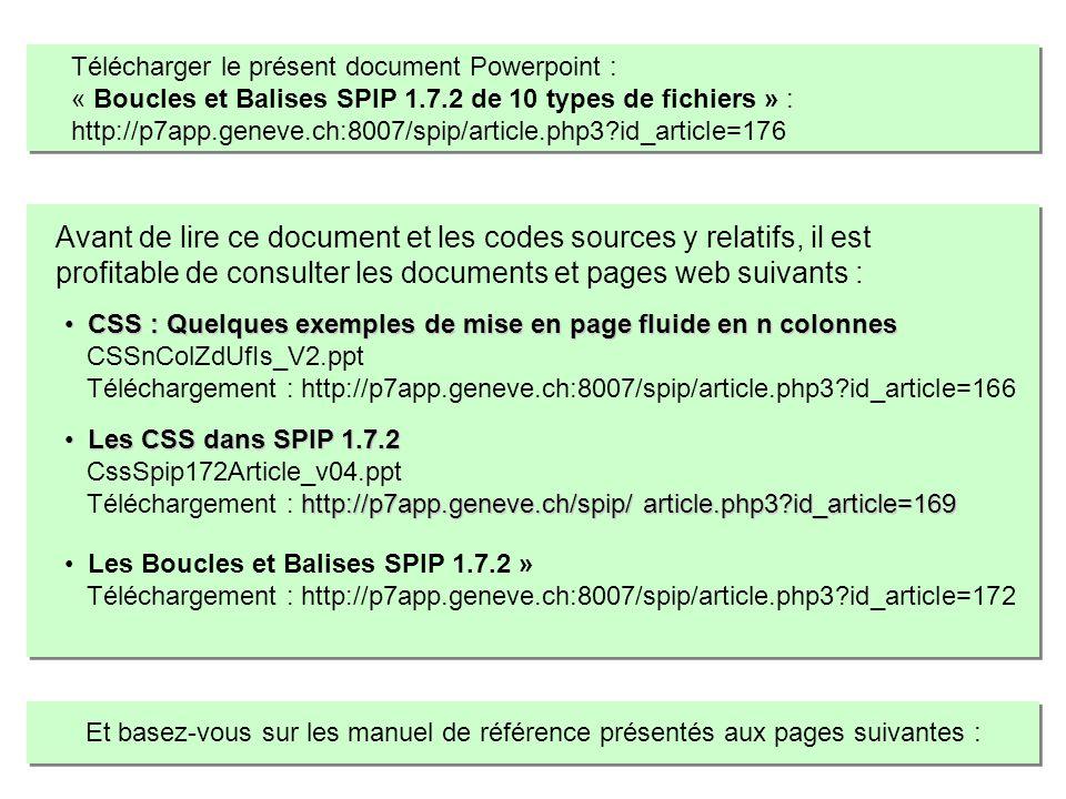 Modifier le squelette de SPIP 1.7.2 cest intervenir dans le code au plan : Des Boucles et des Balises SPIP.