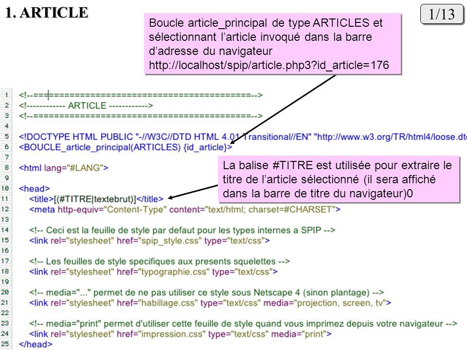 1/131/13 La balise #TITRE est utilisée pour extraire le titre de larticle sélectionné (il sera affiché dans la barre de titre du navigateur)0 Boucle a