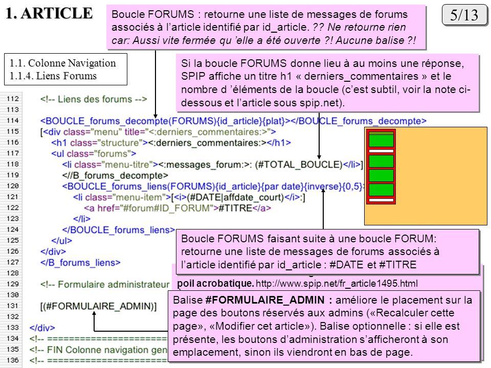 1. ARTICLE 5/135/13 Boucle FORUMS : retourne une liste de messages de forums associés à larticle identifié par id_article. ?? Ne retourne rien car: Au