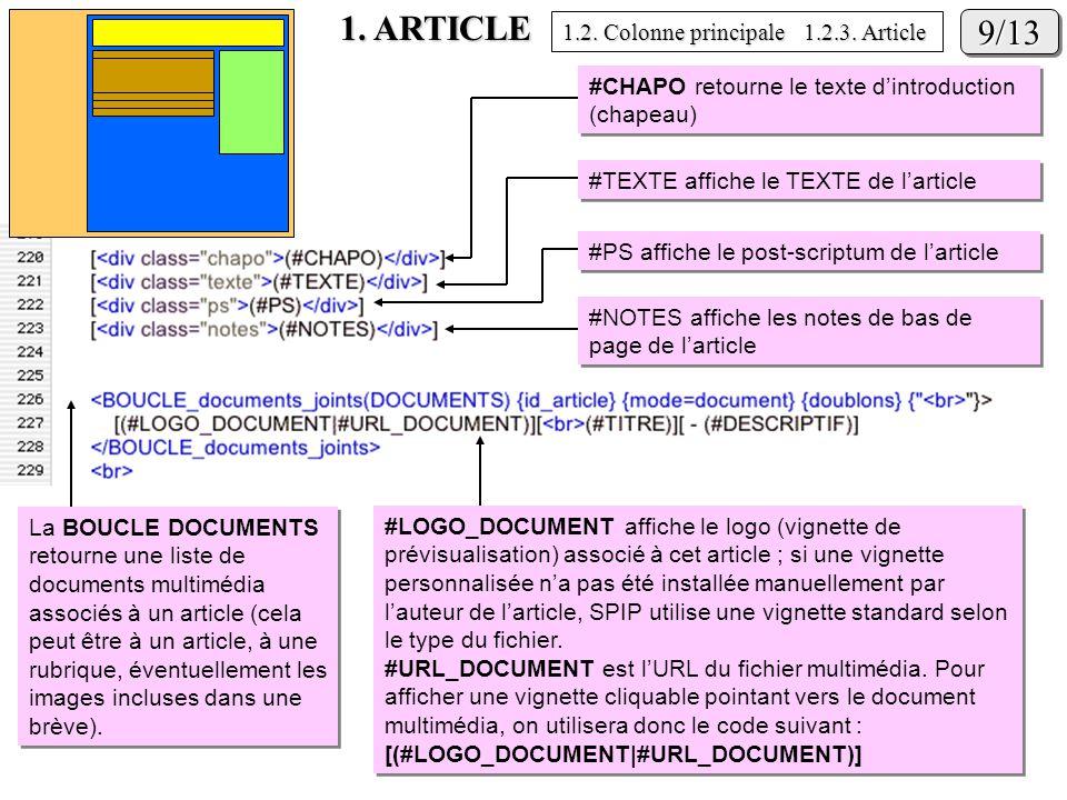 1. ARTICLE 9/139/13 #NOTES affiche les notes de bas de page de larticle #PS affiche le post-scriptum de larticle #TEXTE affiche le TEXTE de larticle #