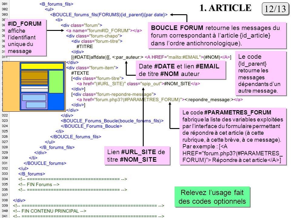 12/1312/13 1. ARTICLE Relevez lusage fait des codes optionnels Lien #URL_SITE de titre #NOM_SITE Le code #PARAMETRES_FORUM fabrique la liste des varia