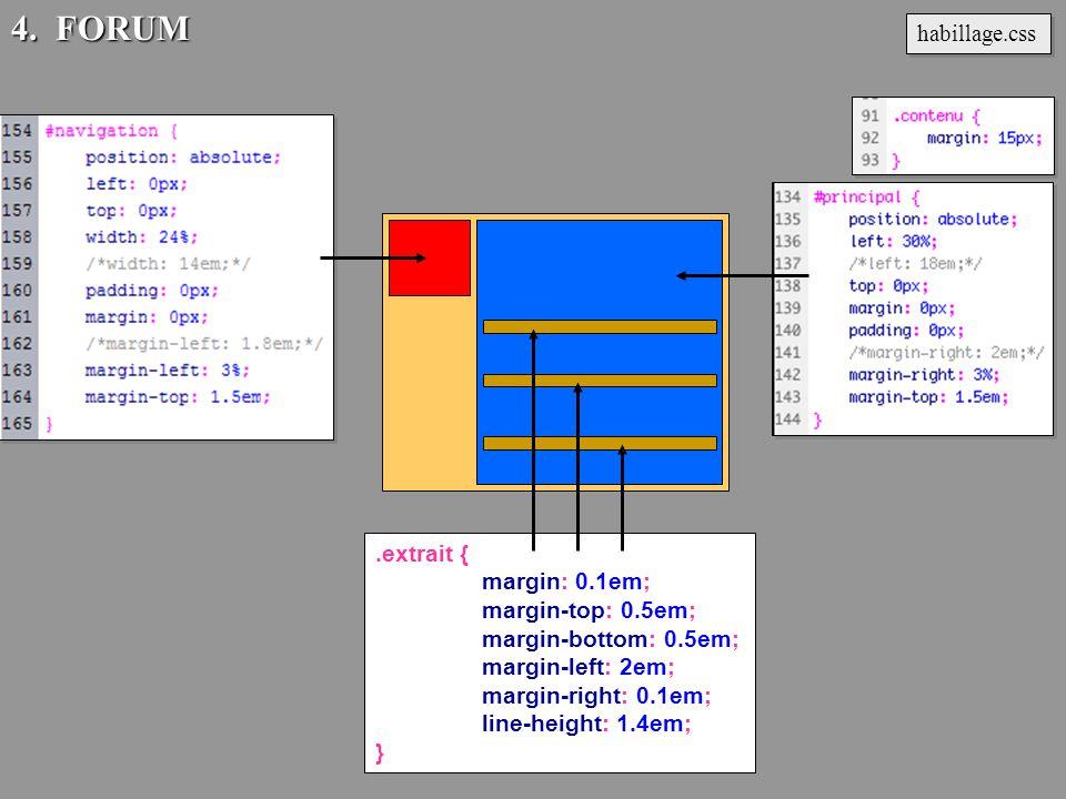 .extrait { margin: 0.1em; margin-top: 0.5em; margin-bottom: 0.5em; margin-left: 2em; margin-right: 0.1em; line-height: 1.4em; } habillage.css 4. FORUM