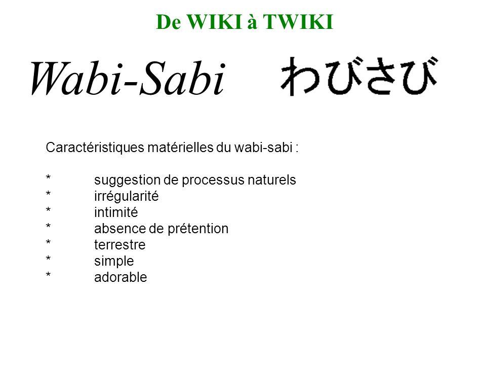 Caractéristiques matérielles du wabi-sabi : *suggestion de processus naturels *irrégularité *intimité *absence de prétention *terrestre *simple *adorable De WIKI à TWIKI Wabi-Sabi