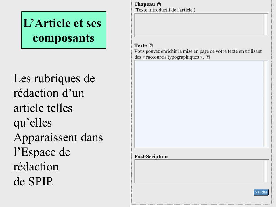 LArticle et ses composants Les rubriques de rédaction dun article telles quelles Apparaissent dans lEspace de rédaction de SPIP.