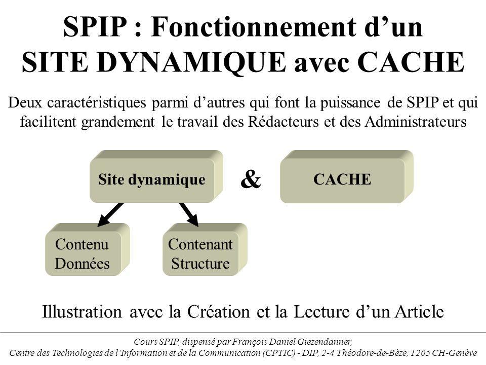 Base de données Moteur Calcul les boucle SPIP Calcul PHP --> HTML Répertoire …/spip/ecrire> Squelette SPIP nom_i.php nom_i.htm Répertoire …/spip> 12 Stockage des images dans le Répertoire …/spip/IMG> Images 5 67 Stockage des Fichiers.php Dans le Répertoire …/spip/CACHE> CACHE nom_bi.php 4 3 Stockage des documents joints Dans le Répertoire …/spip/IMG/doc> Documents joints Les images acceptées sont de types : JPEG, GIF et PNG Eléments fonctionnels et arborescence serveur dun site SPIP DONNEES