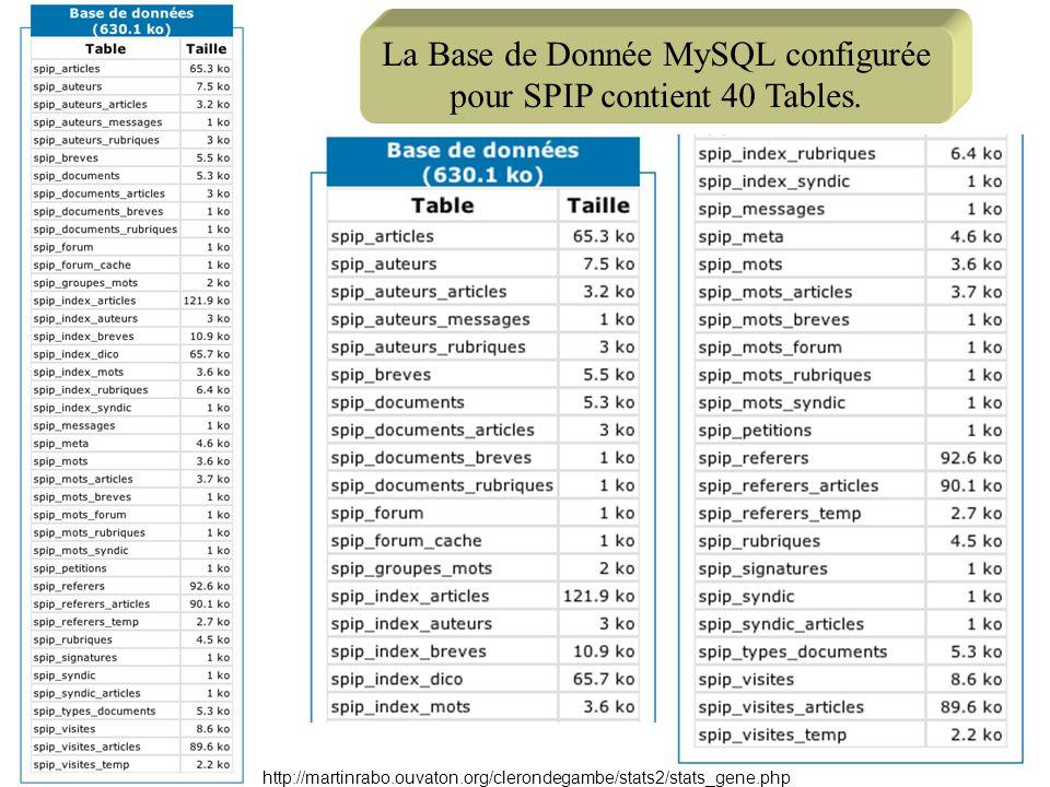 La Base de Donnée MySQL configurée pour SPIP contient 40 Tables. http://martinrabo.ouvaton.org/clerondegambe/stats2/stats_gene.php