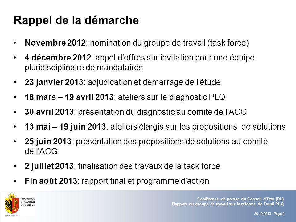 30.10.2013 - Page 2 Conférence de presse du Conseil d'Etat (DU) Rapport du groupe de travail sur la réforme de l'outil PLQ Rappel de la démarche Novem
