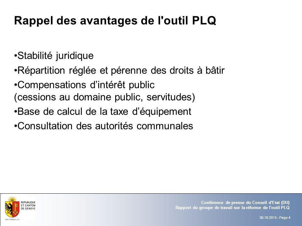 30.10.2013 - Page 4 Conférence de presse du Conseil d'Etat (DU) Rapport du groupe de travail sur la réforme de l'outil PLQ Rappel des avantages de l'o