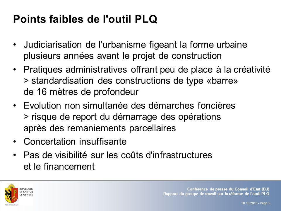 30.10.2013 - Page 5 Conférence de presse du Conseil d'Etat (DU) Rapport du groupe de travail sur la réforme de l'outil PLQ Points faibles de l'outil P