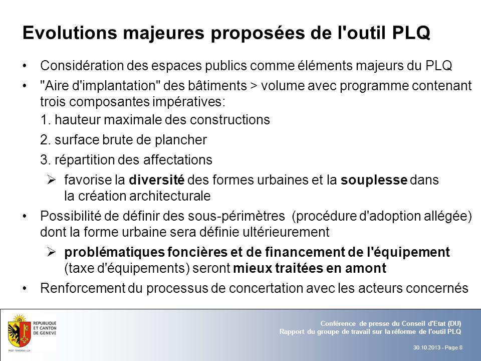 30.10.2013 - Page 8 Conférence de presse du Conseil d'Etat (DU) Rapport du groupe de travail sur la réforme de l'outil PLQ Evolutions majeures proposé