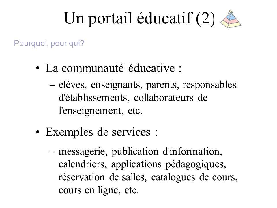Un portail éducatif (2) La communauté éducative : –élèves, enseignants, parents, responsables d établissements, collaborateurs de l enseignement, etc.