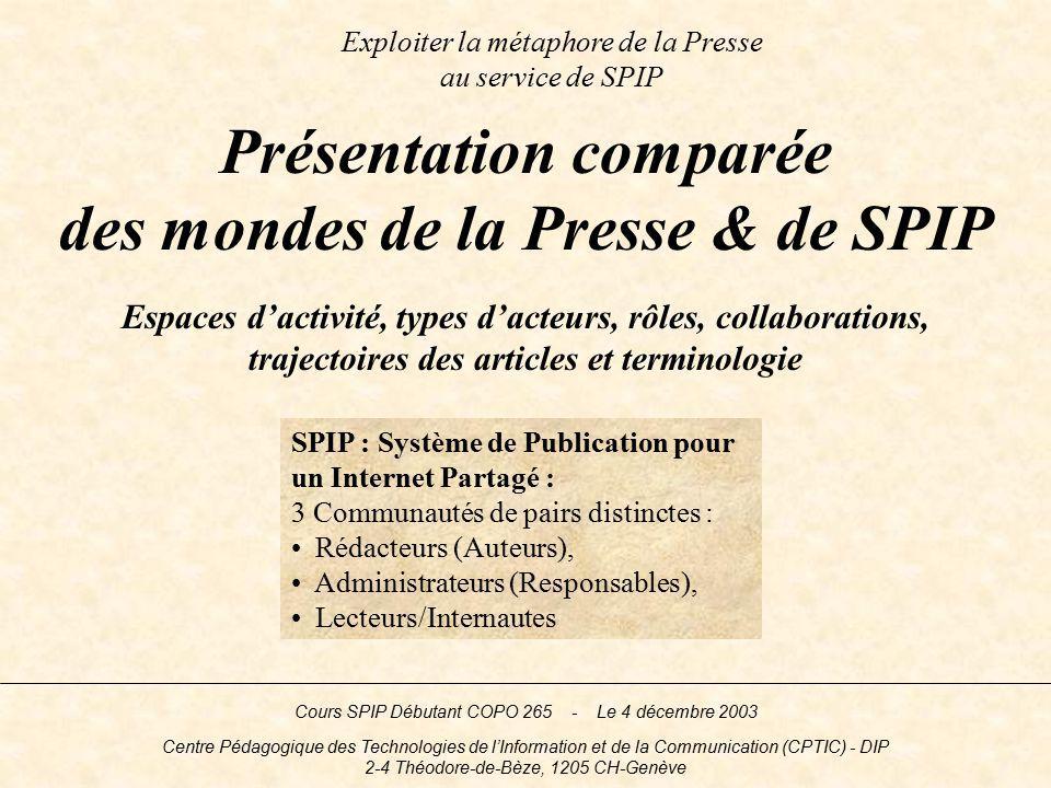 Exploiter la métaphore de la Presse au service de SPIP Espaces dactivité, types dacteurs, rôles, collaborations, trajectoires des articles et terminol