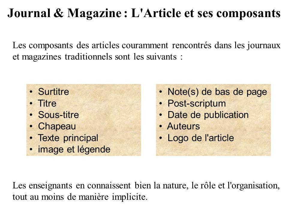 Journal & Magazine : L'Article et ses composants Surtitre Titre Sous-titre Chapeau Texte principal image et légende Note(s) de bas de page Post-script