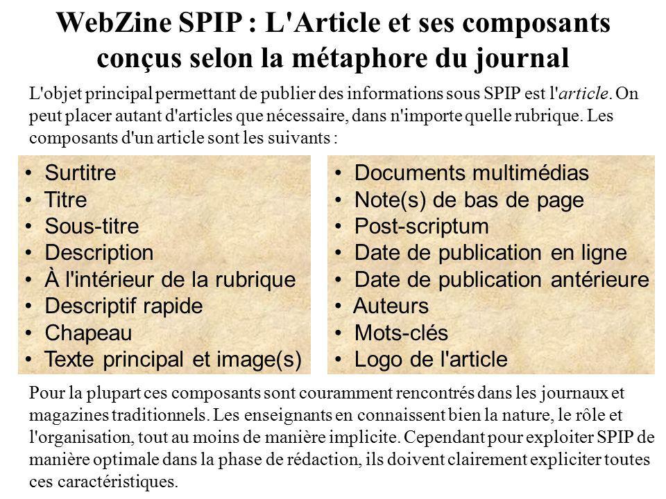 WebZine SPIP : L'Article et ses composants conçus selon la métaphore du journal Surtitre Titre Sous-titre Description À l'intérieur de la rubrique Des