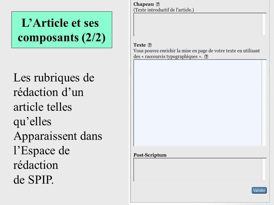 Les rubriques de rédaction dun article telles quelles Apparaissent dans lEspace de rédaction de SPIP. LArticle et ses composants (2/2)