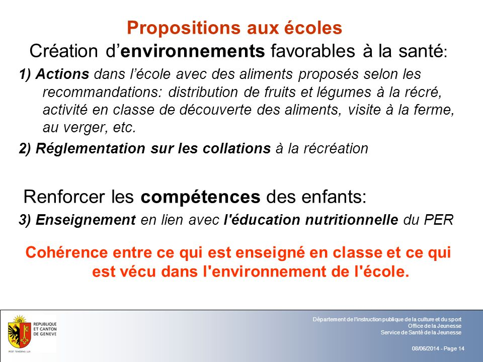 08/06/2014 - Page 14 Département de l'instruction publique de la culture et du sport Office de la Jeunesse Service de Santé de la Jeunesse Proposition