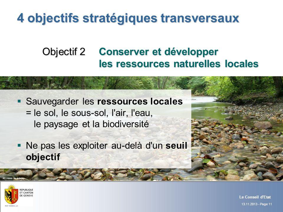 13.11.2013 - Page 11 Le Conseil d'Etat 4 objectifs stratégiques transversaux Sauvegarder les ressources locales = le sol, le sous-sol, l'air, l'eau, l