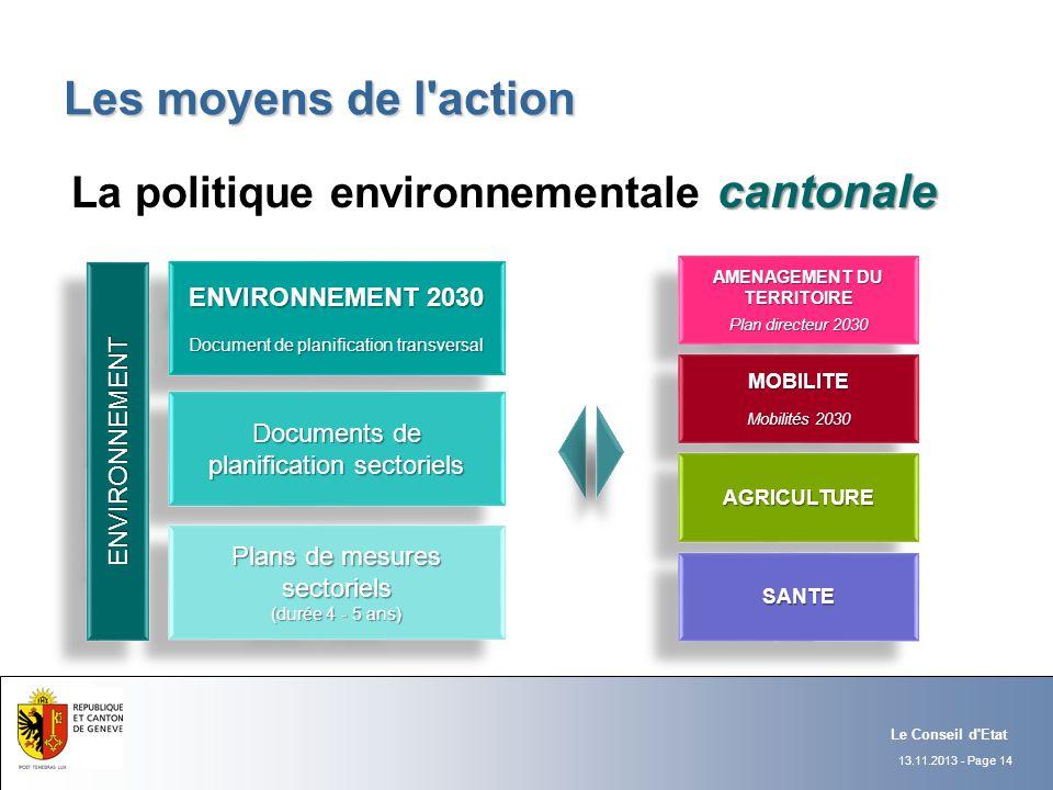 13.11.2013 - Page 14 Le Conseil d'Etat Les moyens de l'action cantonale La politique environnementale cantonale ENVIRONNEMENT 2030 Document de planifi