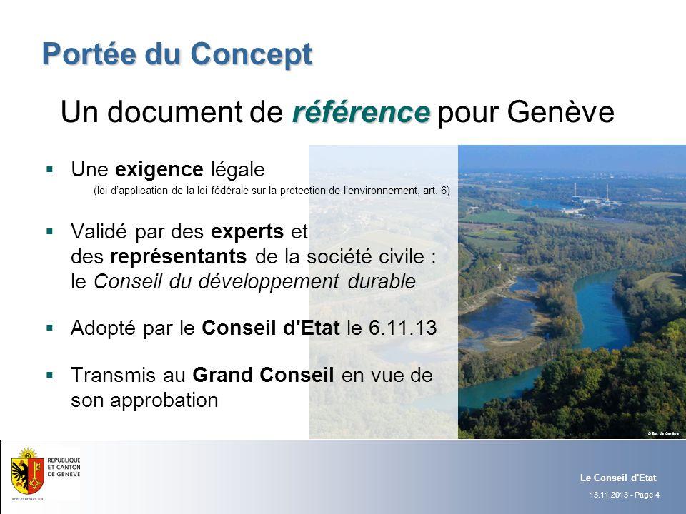 13.11.2013 - Page 4 Portée du Concept Le Conseil d'Etat Une exigence légale (loi dapplication de la loi fédérale sur la protection de lenvironnement,