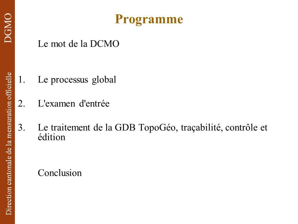 Direction cantonale de la mensuration officielle DGMO Le mot de la DCMO 1.Le processus global 2.L examen d entrée 3.Le traitement de la GDB TopoGéo, traçabilité, contrôle et édition Conclusion Programme