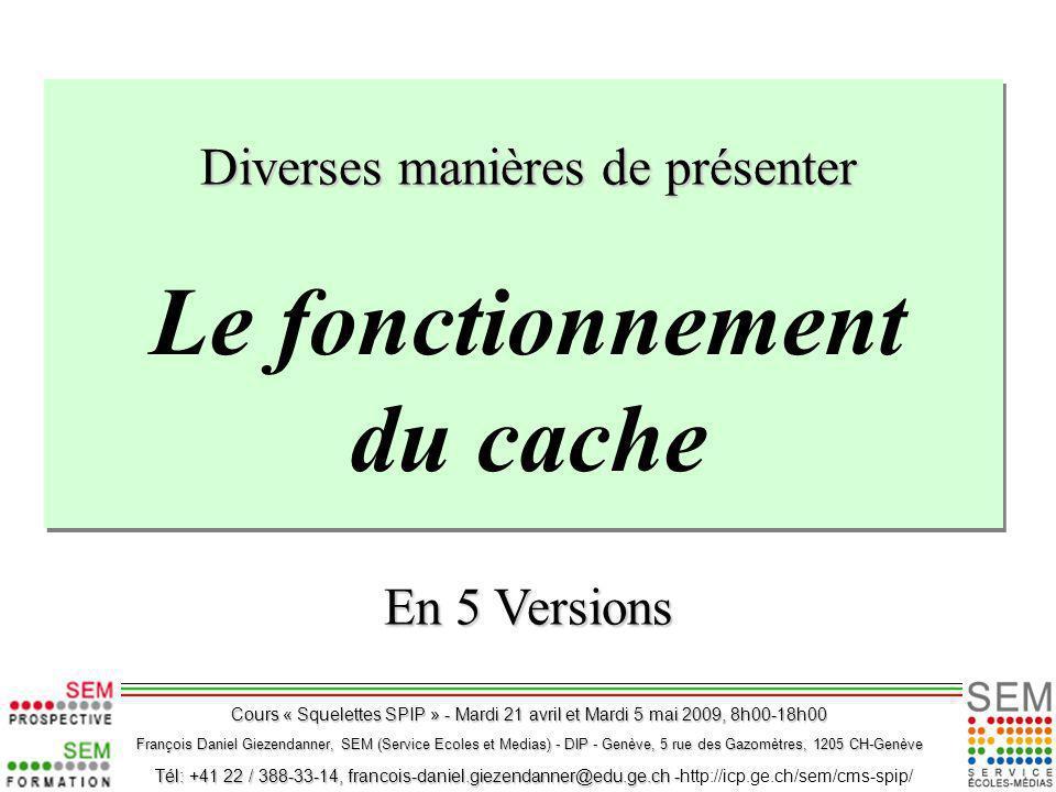 Le fonctionnement du cache Diverses manières de présenter En 5 Versions François Daniel Giezendanner, SEM (Service Ecoles et Medias) - DIP - Genève, 5 rue des Gazomètres, 1205 CH-Genève Tél: +41 22 / 388-33-14, francois-daniel.giezendanner@edu.ge.ch - Tél: +41 22 / 388-33-14, francois-daniel.giezendanner@edu.ge.ch -http://icp.ge.ch/sem/cms-spip/ Cours « Squelettes SPIP » - Mardi 21 avril et Mardi 5 mai 2009, 8h00-18h00