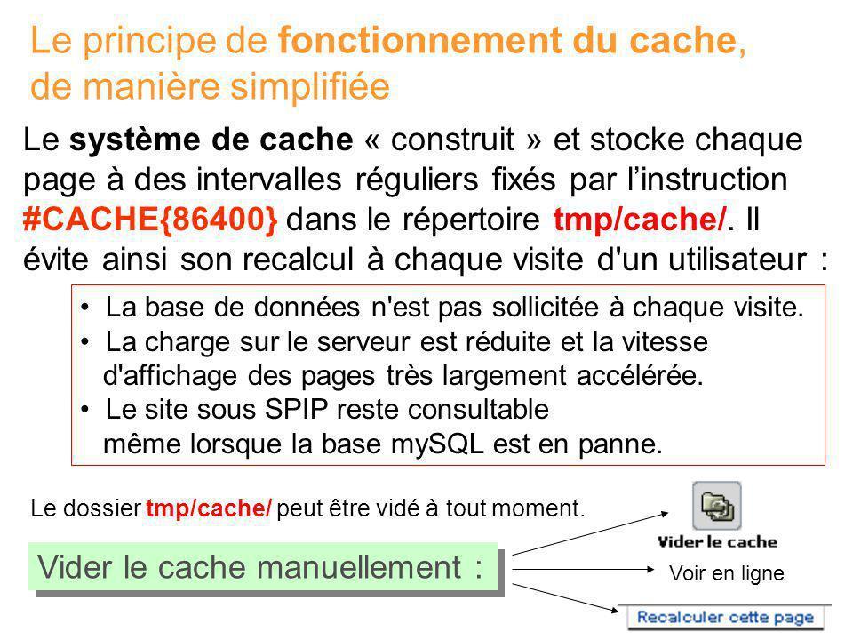 Le principe de fonctionnement du cache, de manière simplifiée Vider le cache manuellement : Voir en ligne Le système de cache « construit » et stocke chaque page à des intervalles réguliers fixés par linstruction #CACHE{86400} dans le répertoire tmp/cache/.