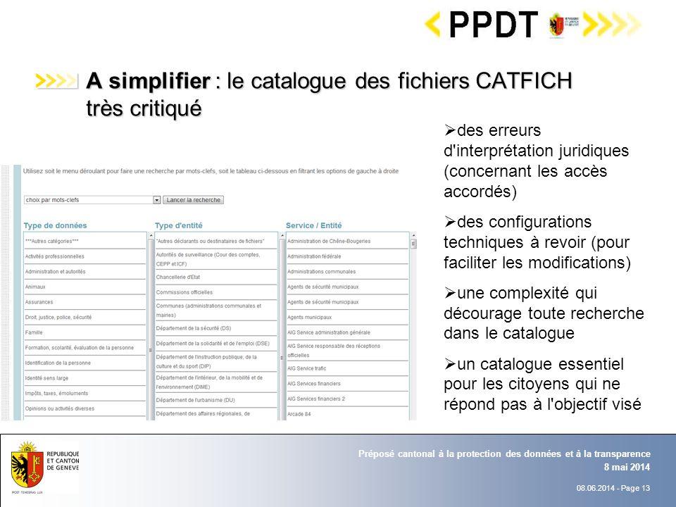 08.06.2014 - Page 13 8 mai 2014 Préposé cantonal à la protection des données et à la transparence A simplifier : le catalogue des fichiers CATFICH trè