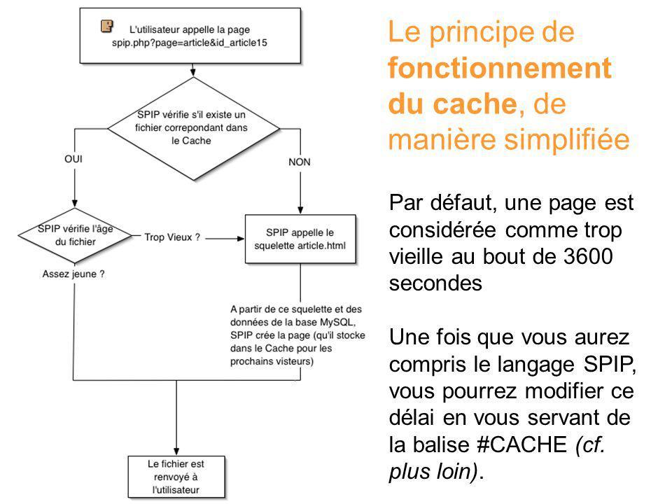Le principe de fonctionnement du cache, de manière simplifiée Par défaut, une page est considérée comme trop vieille au bout de 3600 secondes Une fois que vous aurez compris le langage SPIP, vous pourrez modifier ce délai en vous servant de la balise #CACHE (cf.