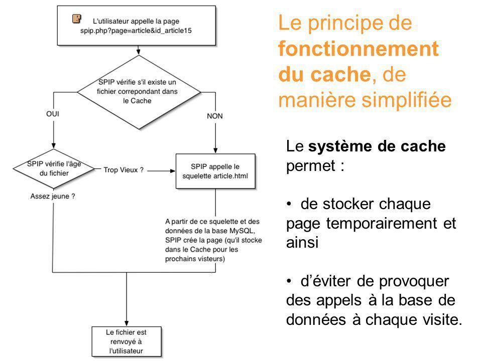 Le principe de fonctionnement du cache, de manière simplifiée Le système de cache permet : de stocker chaque page temporairement et ainsi déviter de provoquer des appels à la base de données à chaque visite.