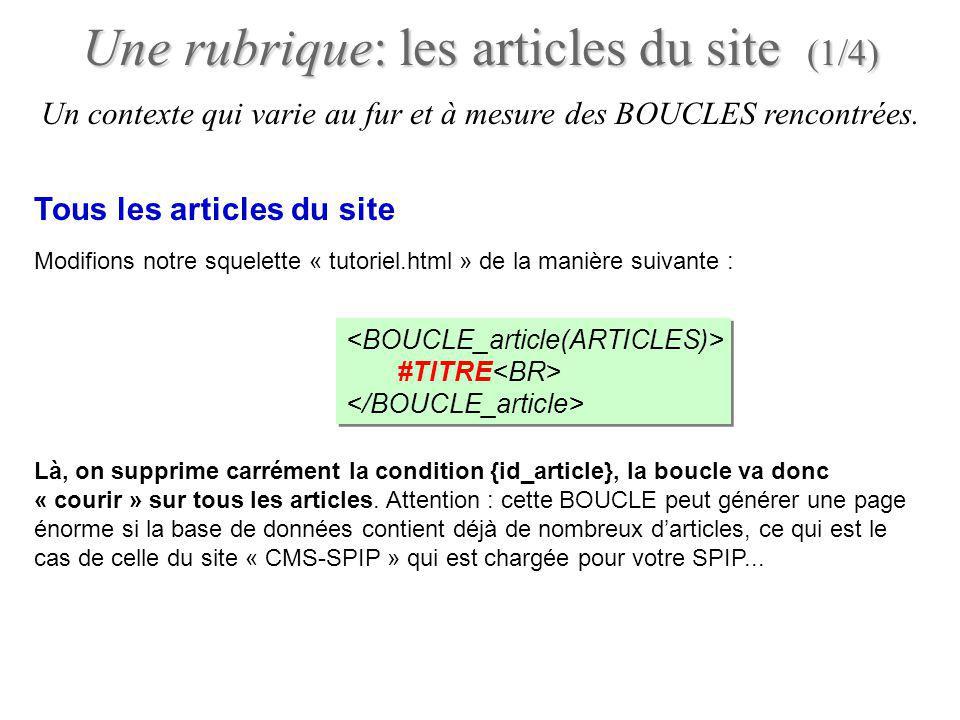Un contexte qui varie au fur et à mesure des BOUCLES rencontrées. Une rubrique: les articles du site (1/4) Modifions notre squelette « tutoriel.html »