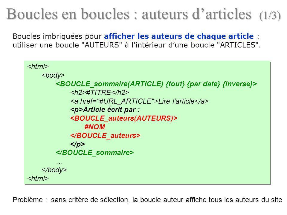 Boucles en boucles : auteurs darticles (1/3) Boucles imbriquées pour afficher les auteurs de chaque article : utiliser une boucle