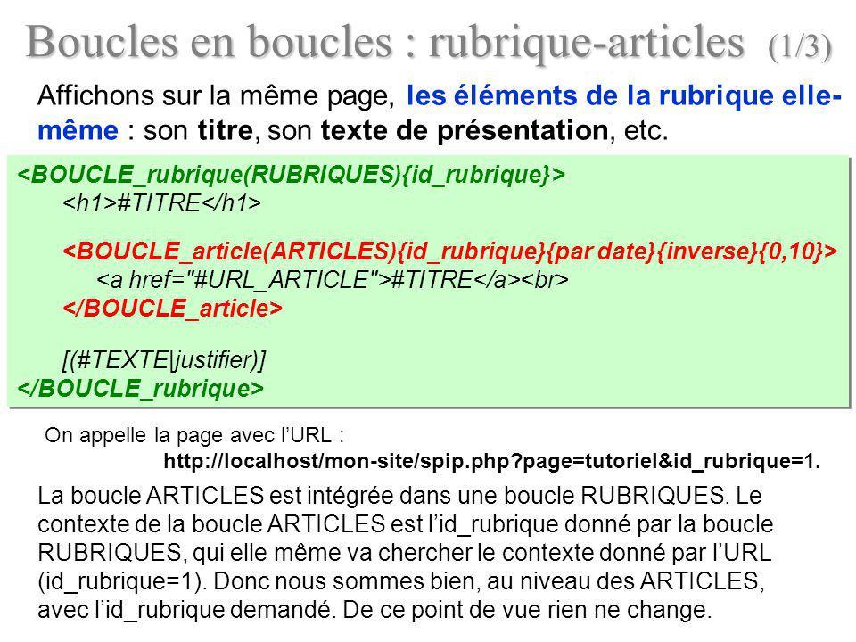 Boucles en boucles : rubrique-articles (1/3) Affichons sur la même page, les éléments de la rubrique elle- même : son titre, son texte de présentation