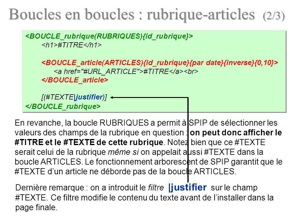 En revanche, la boucle RUBRIQUES a permit à SPIP de sélectionner les valeurs des champs de la rubrique en question : on peut donc afficher le #TITRE e