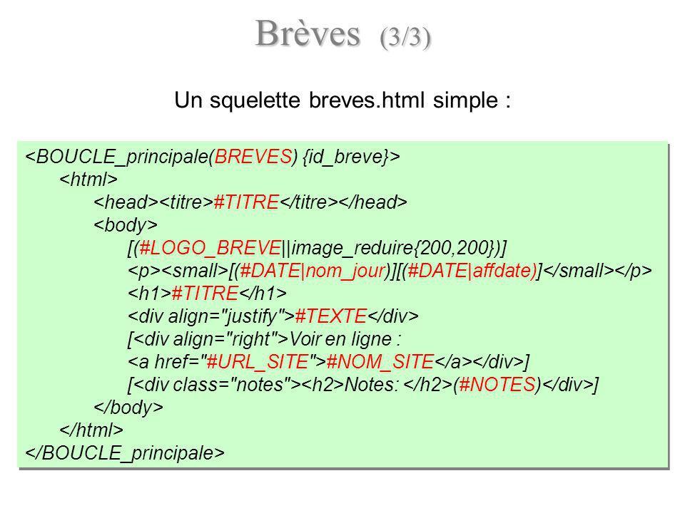 Brèves (3/3) Un squelette breves.html simple : #TITRE [(#LOGO_BREVE||image_reduire{200,200})] [(#DATE|nom_jour)][(#DATE|affdate)] #TITRE #TEXTE [ Voir