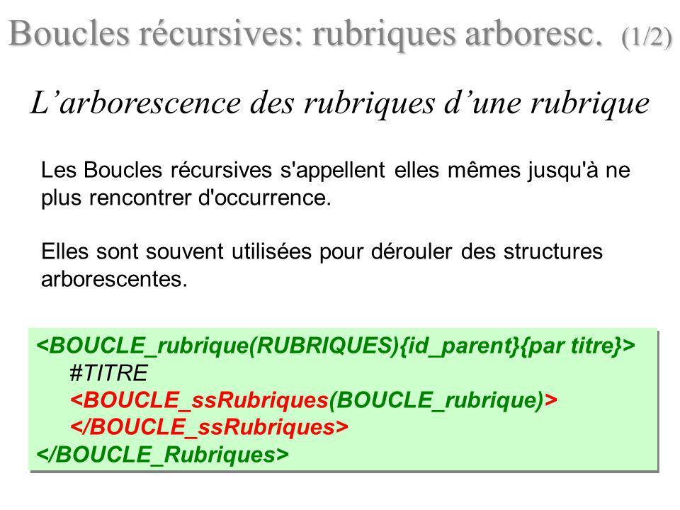 Les Boucles récursives s'appellent elles mêmes jusqu'à ne plus rencontrer d'occurrence. Elles sont souvent utilisées pour dérouler des structures arbo