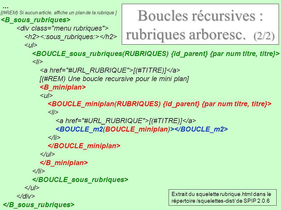 ... [(#REM) Si aucun article, affiche un plan de la rubrique ] [(#TITRE)] [(#REM) Une boucle recursive pour le mini plan] [(#TITRE)] Boucles récursive