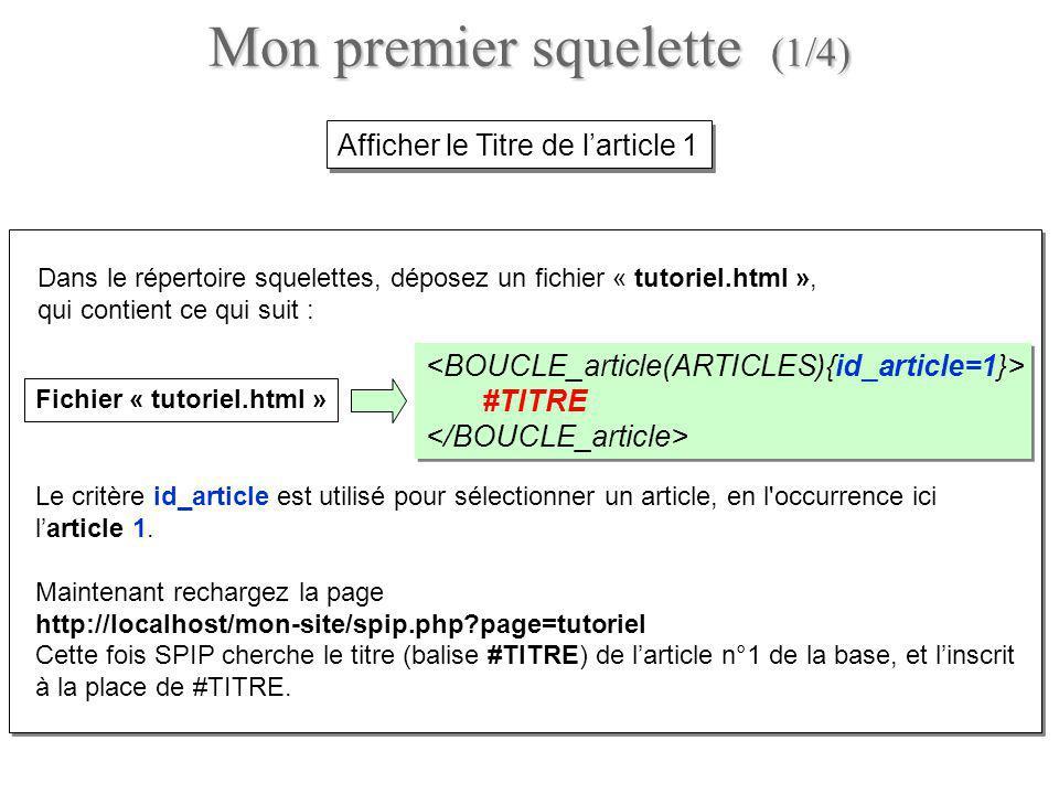 Ajoutez du HTML et dautres appels de « champs » SPIP au fichier tutoriel.html, en l occurrence le chapeau (#CHAPO) et le texte principal (#TEXTE) : #TITRE #CHAPO #TEXTE #TITRE #CHAPO #TEXTE Rechargez la page http://localhost/mon-site/spip.php?page=tutoriel, ce qui donne l essentiel de l article n° 1.