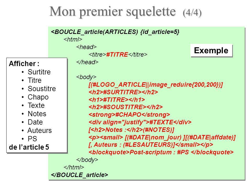 Boucles en boucles : auteurs darticles (1/3) Boucles imbriquées pour afficher les auteurs de chaque article : utiliser une boucle AUTEURS à l intérieur dune boucle ARTICLES .