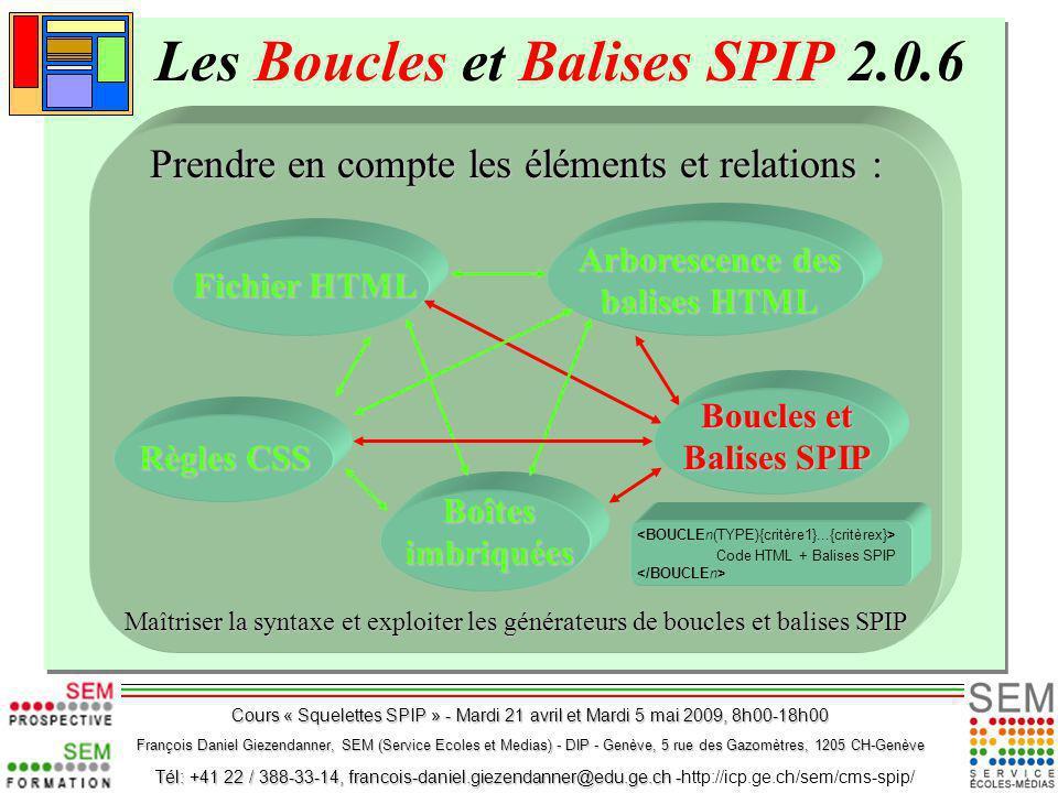 Les Boucles et Balises SPIP 2.0.6 Prendre en compte les éléments et relations : Maîtriser la syntaxe et exploiter les générateurs de boucles et balise