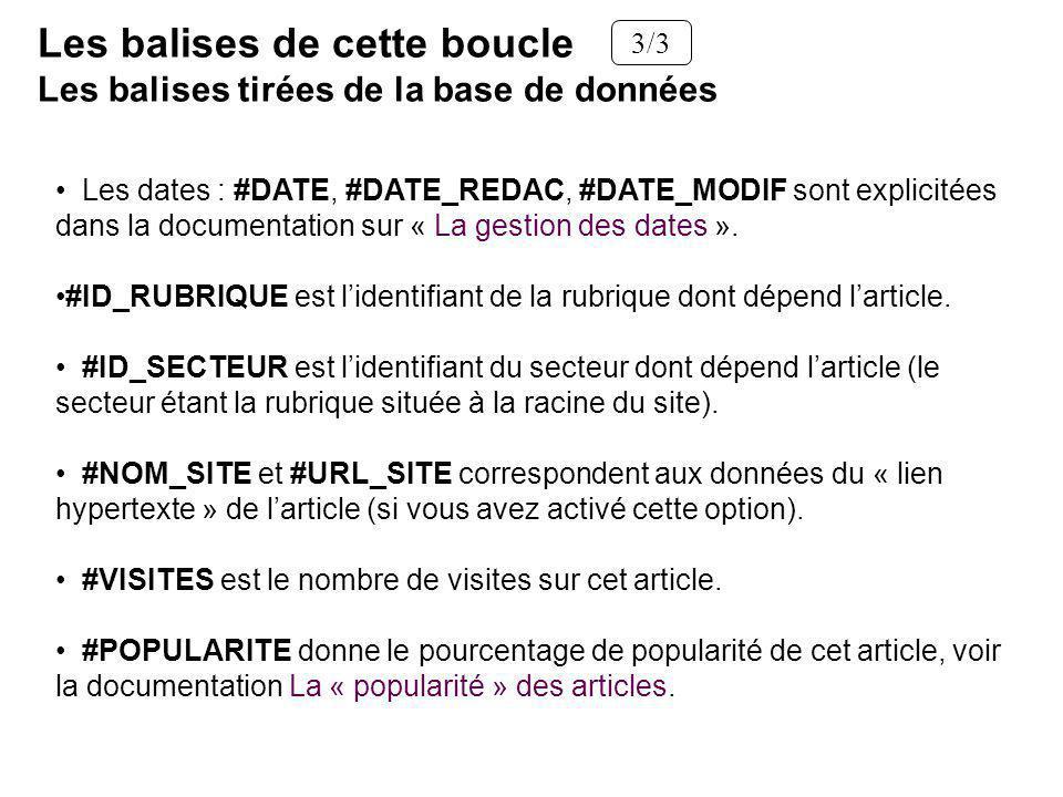 Les dates : #DATE, #DATE_REDAC, #DATE_MODIF sont explicitées dans la documentation sur « La gestion des dates ». #ID_RUBRIQUE est lidentifiant de la r