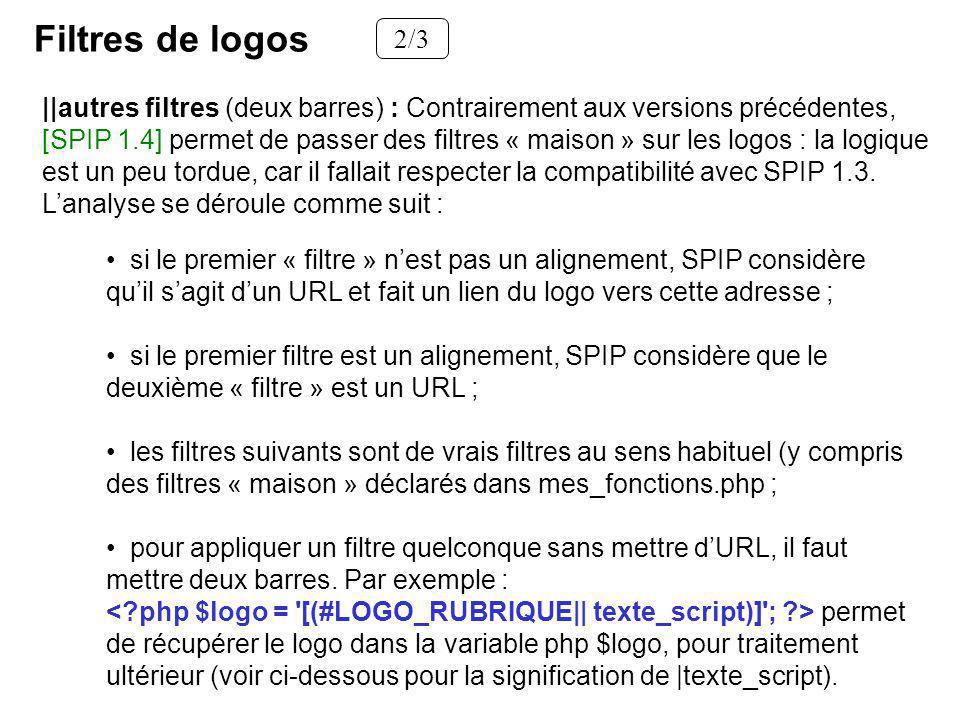 Filtres de logos 2/3 si le premier « filtre » nest pas un alignement, SPIP considère quil sagit dun URL et fait un lien du logo vers cette adresse ; s