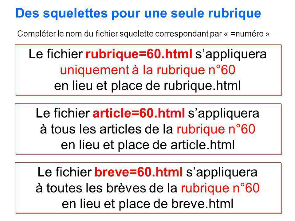 Le fichier rubrique=60.html sappliquera uniquement à la rubrique n°60 en lieu et place de rubrique.html Le fichier rubrique=60.html sappliquera unique