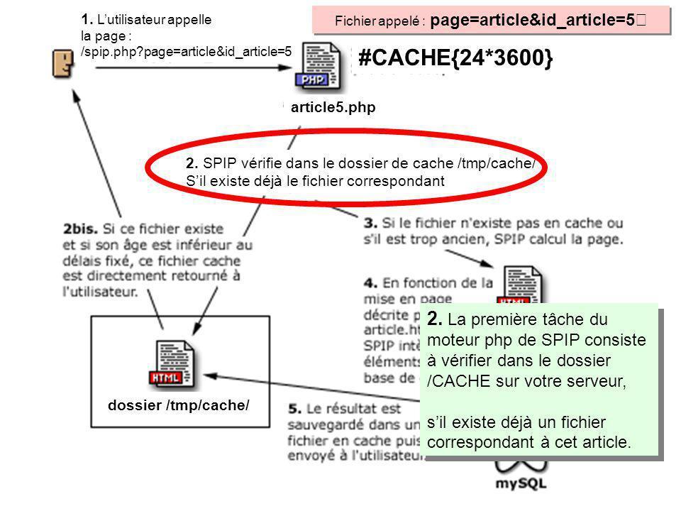 2. La première tâche du moteur php de SPIP consiste à vérifier dans le dossier /CACHE sur votre serveur, sil existe déjà un fichier correspondant à ce