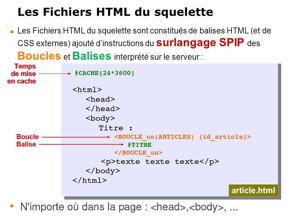 Les Fichiers HTML du squelette Les Fichiers HTML du squelette sont constitués de balises HTML (et de CSS externes) ajouté dinstructions du surlangage