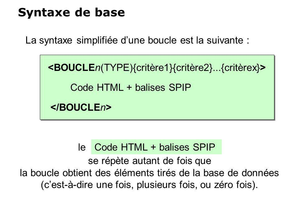se répète autant de fois que la boucle obtient des éléments tirés de la base de données (cest-à-dire une fois, plusieurs fois, ou zéro fois). Syntaxe
