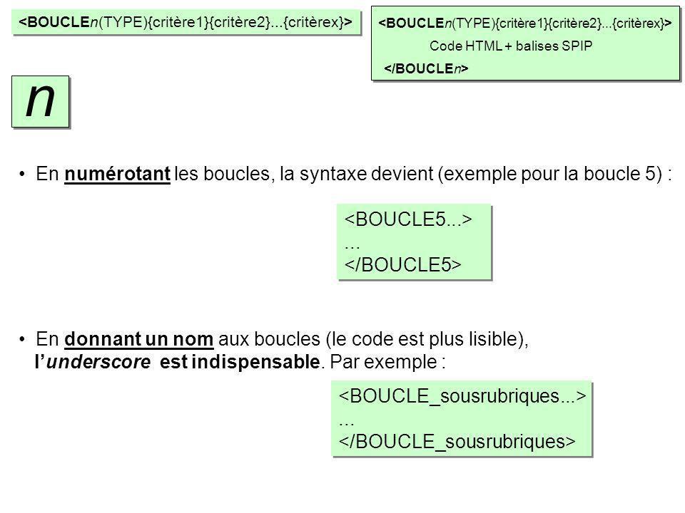 Code HTML + balises SPIP En numérotant les boucles, la syntaxe devient (exemple pour la boucle 5) :...... En donnant un nom aux boucles (le code est p